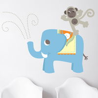 Playful Monkey & Elephant - Jungle Animals - Printed Wall Decals