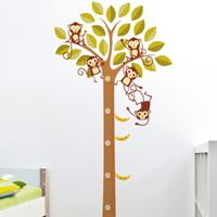 Banana Loving Monkeys in a Tree Growth Chart - Printed Wall Decals