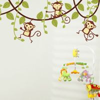 Monkeys Swinging on Vines - Set of 5 - Printed Wall Decals