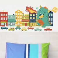 Friendly Monster in the City - Printed Wall Decals