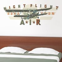 Night Flight Squadron - Vintage Airplane - Printed Wall Decals