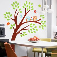 Happy Owls & Birds in a Colorful Tree - Printed Wall Decals
