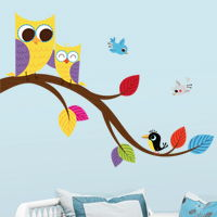 Cute Mom and Baby Owls on a Branch - Printed Wall Decals