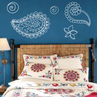 Paisley Flowers - hand drawn - wall decals