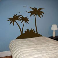Tropical Palm Trees and Birds - Set of 3 - Wall Decals