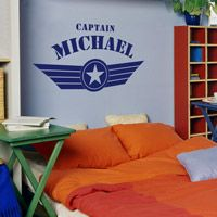 Pilot Wings - Personalized Monogram - Wall Decals