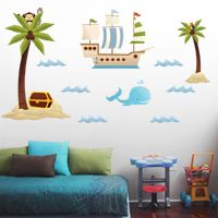Treasure Island, Palm Trees & Pirate Ship - Scene - Printed Wall Decals