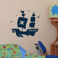 Pirate Ship with Soaring Birds - Wall Decals