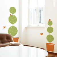 Two Potted Plants with Cute Birds - Wall Decals