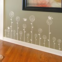 Swirling Poppies Set of 15 - Wall Decals