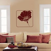 Framed Poppy Flower Decal - Vinyl Wall Decals