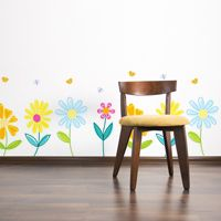 Pretty Spring Garden Flowers with Butterflies - Printed Wall Decals