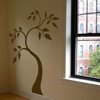 Pretty Tree with Swirling Leaves - Wall Decals