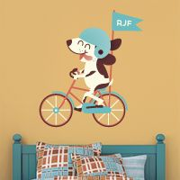 Puppy Riding a Bike - Three Letter Monogram - Printed Wall Decals