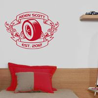 Racing Wheel with Flames - Personalized Monogram - Wall Decals