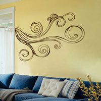 Retro Swirling Branch - Corner Piece - Wall Decals
