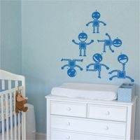 Fun Robots - Set of 6 - Wall Decals