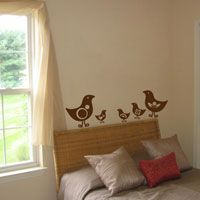 Set of Seven Cute Birds - Fun Shapes - Wall Decals