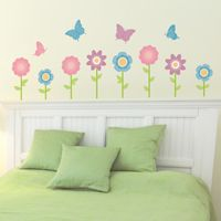 Simple Butterfly & Flower Garden - Set of 24 - Printed Wall Decals