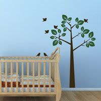 Simple Waving Tree with Birds - Wall Decals