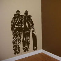 Snowboarder Couple - Snowboarding Wall Decals