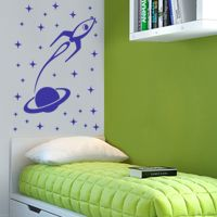 Space Rocket, Planet & Stars - Wall Decals