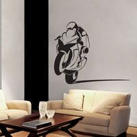 Motorcycle Racer - Sportbike - Power Wheelie Biker - Vinyl Wall Decals -