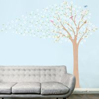Blossoming Spring Tree With Birds Printed Wall Decals