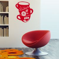 Modern Stacked Coffeee Cups - Wall Decals