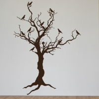 Stark Tree with Birds & Exposed Roots - Door Decoration - Halloween - Wall Decals