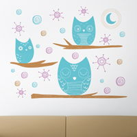 Starry Night Owls - Set of 3 - Wall Decals