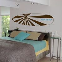 Surfboard & Name - Personalized Monogram Wall Decals