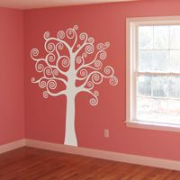 Tree with Swirling and Spiraling Branches - Wall Decals