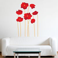 Tall Red Poppies - Set of 7 - Printed Wall Decals