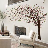 Tall Leaning Tree Blowing with Blossoms - Wall Decals