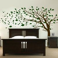 Tall Tree with Leaves Blowing in the Wind - Wall Decals -