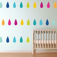 Colorful Teardrops - Rain Droplets - Printed Wall Decals
