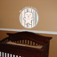 Cute Personalized Teddy Bear with Stripes - Monogram - Printed Wall Decals