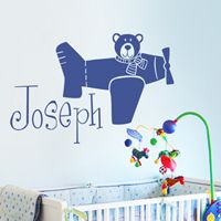 Teddy Bear Flying a Plane - Personalized Monogram - Wall Decals