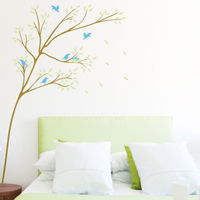 Thin Leaning Tree with Birds and Nest - Wall Decals