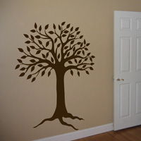 Pretty Tree with Leaves and Exposed Roots - Wall Decal