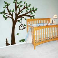 Pretty Tree with Birdhouse - Wall Decals