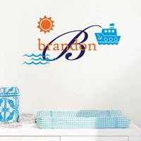 Tug Boat Name & Initial- Personalized Monogram - Wall Decals
