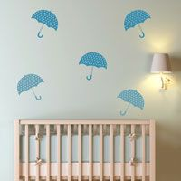 Polkadot Umbrellas - Set of 6 - Wall Decals