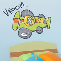 Vroom! - Race Car - Printed Wall Decals