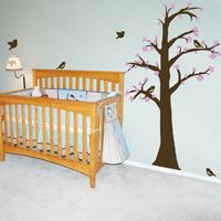 Waving Tree with Leaves and Blossoms - Wall Decals