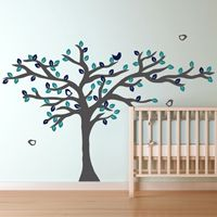 Beautiful Tree with Leaves & Birds - Wall Decals