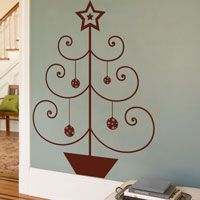 Simple Christmas Tree with a Star - Wall Decals