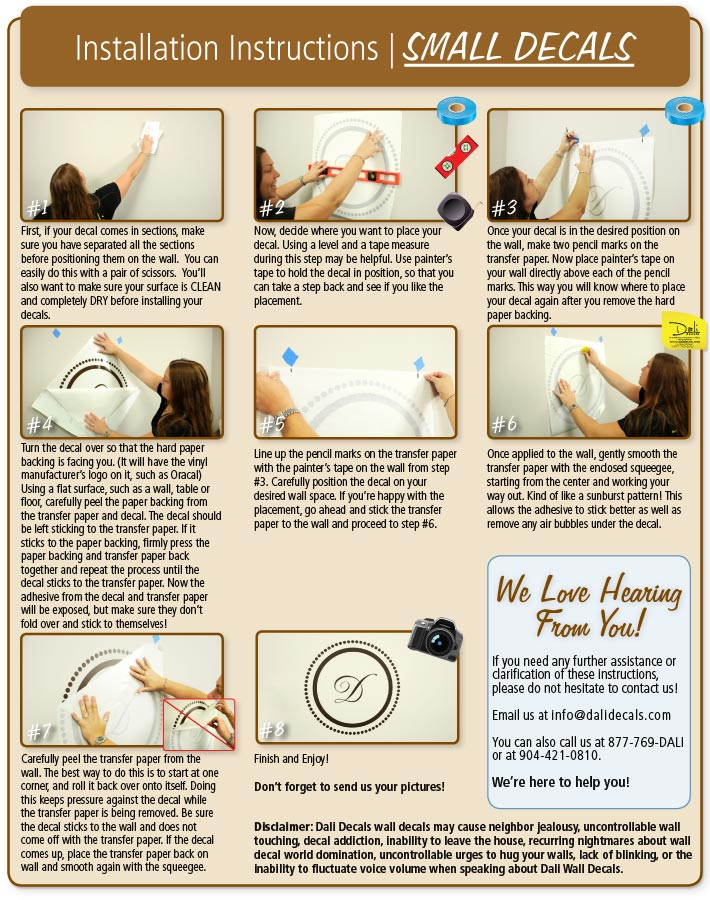 Installation Instructions Dali Wall Decals - Custom vinyl wall decals how to remove