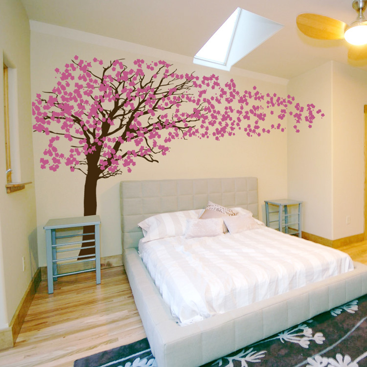 Cherry blossom tree blowing in the wind wall decal for Stickers pared baratos